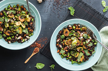 Sweet-and-Sour Brussels Sprouts Stir-Fry with Black Quinoa and Mint