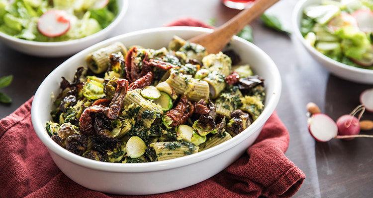 Kale Pesto Rigatoni with Crispy Brussels and Romaine Salad