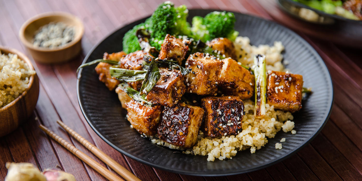 General Tso's Tofu with Quinoa and Steamed Broccoli
