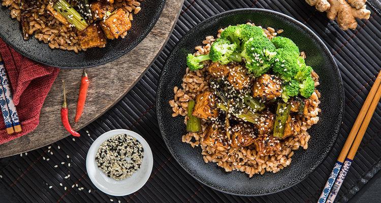 General Tso's Tofu with Farro and Steamed Broccoli