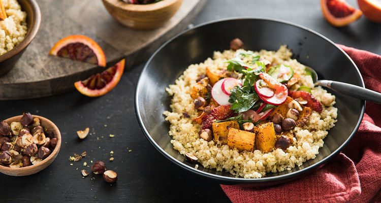 Winter Citrus Grain Bowl with Roasted Butternut and Sumac Herb Salad