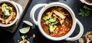 Tortilla Soup with Smoky Ancho Chile and Avocado