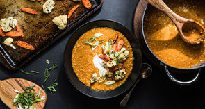 Coconut Lentil Soup with Caraway Roasted Vegetables
