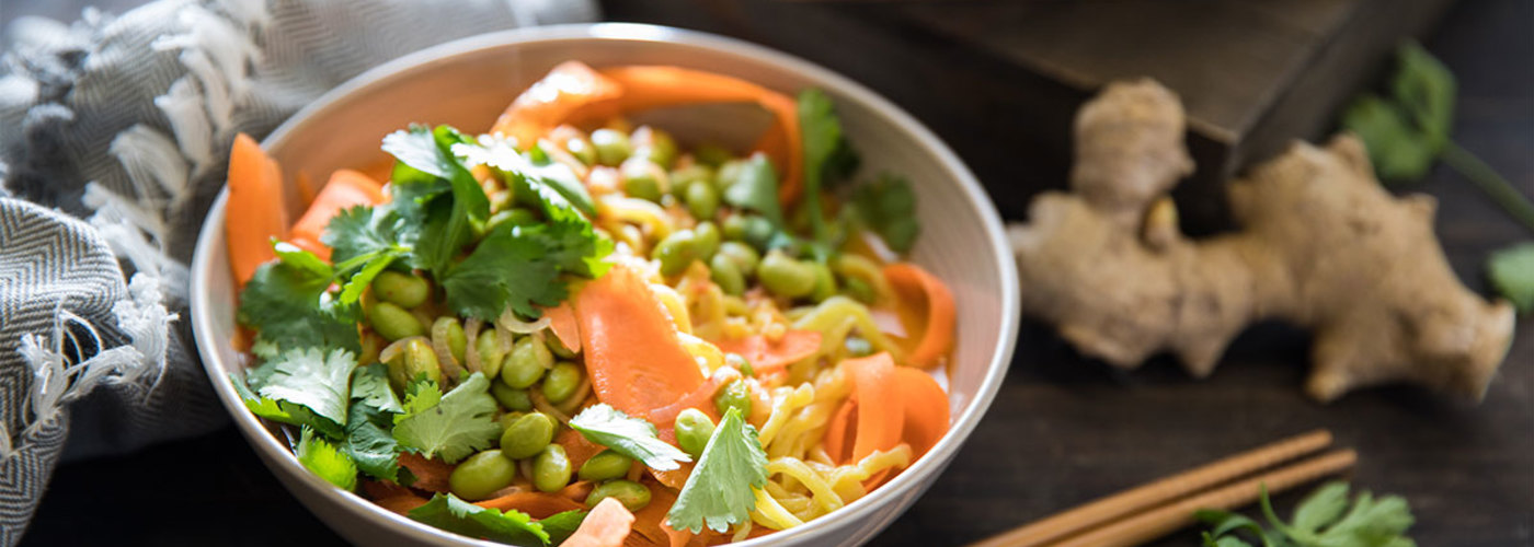 Spicy Red Curry Ramen with Carrot Noodles and Edamame