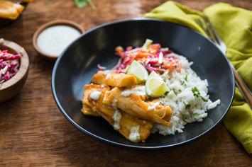 Baja Bowl with Cilantro Rice and Lime Crema
