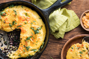 Black Bean and Polenta Casserole with Chile Butter