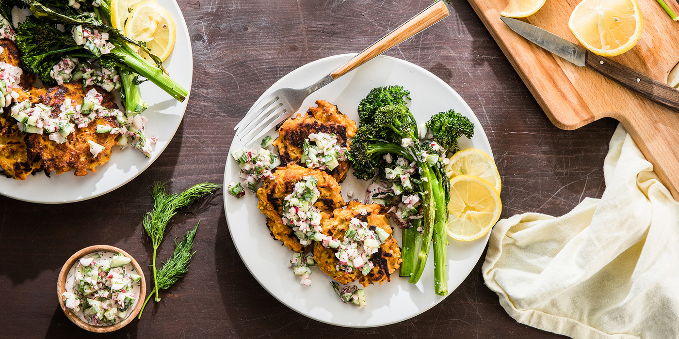 Carrot Socca with Roasted Broccolini and Creamy Cucumber Dressing