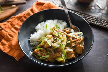 Filipino Peanut Stew with Jasmine Rice and Baby Bok Choy