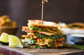 Roasted Red Pepper and Avocado Quesadilla with Refried Red Lentils and Lime Crema