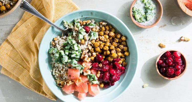 Mezze Bowl with Cranberry Compote and Za'atar Chickpeas