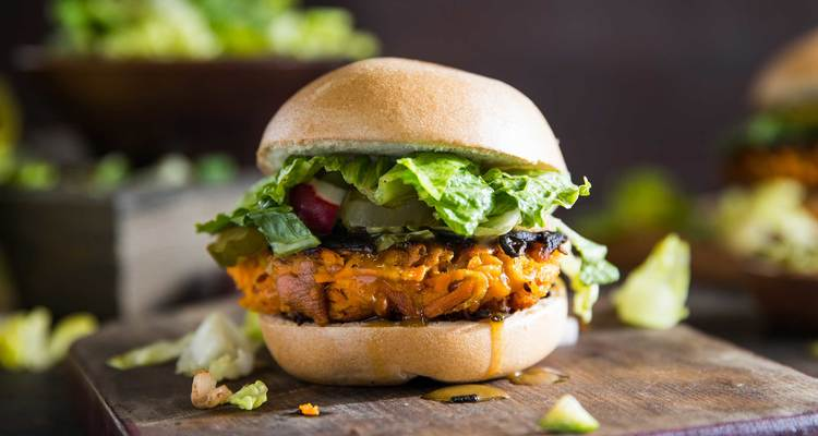 Sweet Potato Burger with Dijon Dressing and Chopped Salad