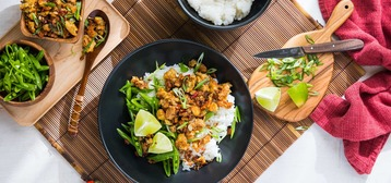 Congee with Crispy Spiced Tempeh and Sugar Snap Peas