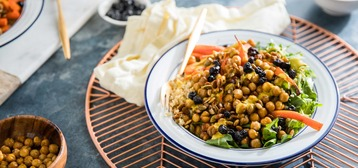 Quinoa Power Bowl with Roasted Carrots, Chickpeas, and Lemon Turmeric Dressing