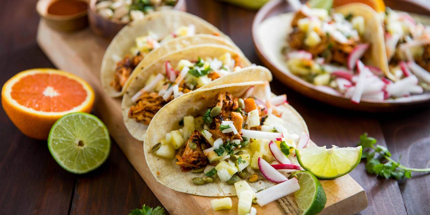 Jackfruit Tacos al Pastor with Pineapple Salsa and Zesty Cannellini Beans