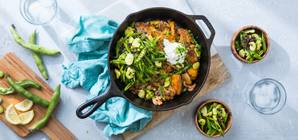 Crispy Potato Skillet with Snap Pea Slaw and Jalapeño Sour Cream