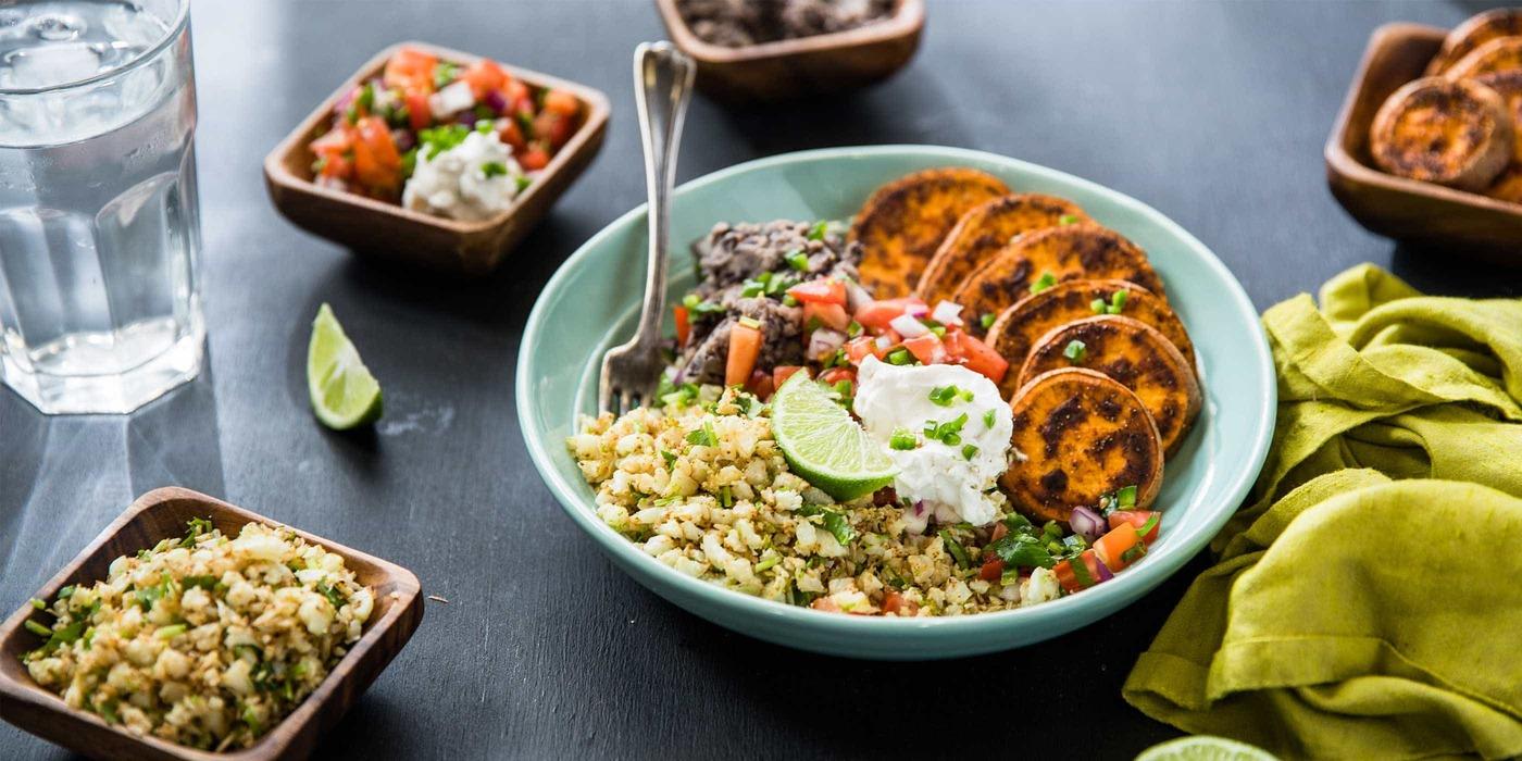 Burrito Bowls with Cauliflower Rice and Fresh Pico de Gallo
