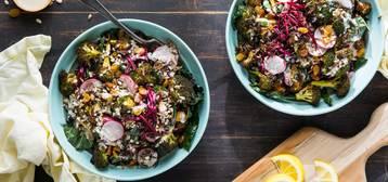 Cajun-Roasted Broccoli Bowl with Wild Rice and Lemon Garlic Tahini
