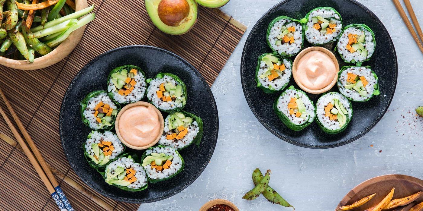 Collard Green Sushi Rolls with Sweet Potato and Togarashi Edamame