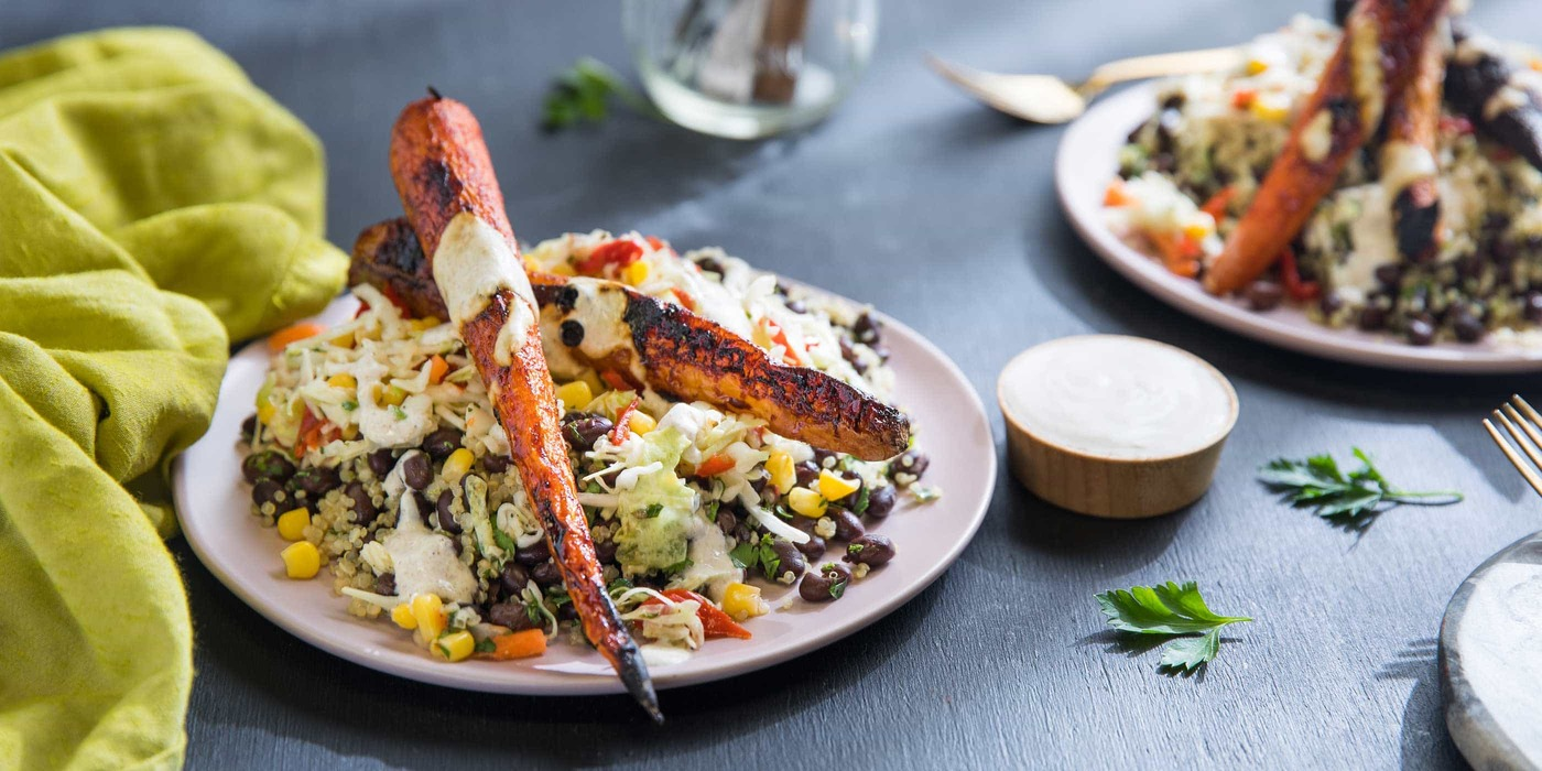 Chipotle-Roasted Carrots with Confetti Quinoa Salad, Black Beans, and Cumin  Yogurt