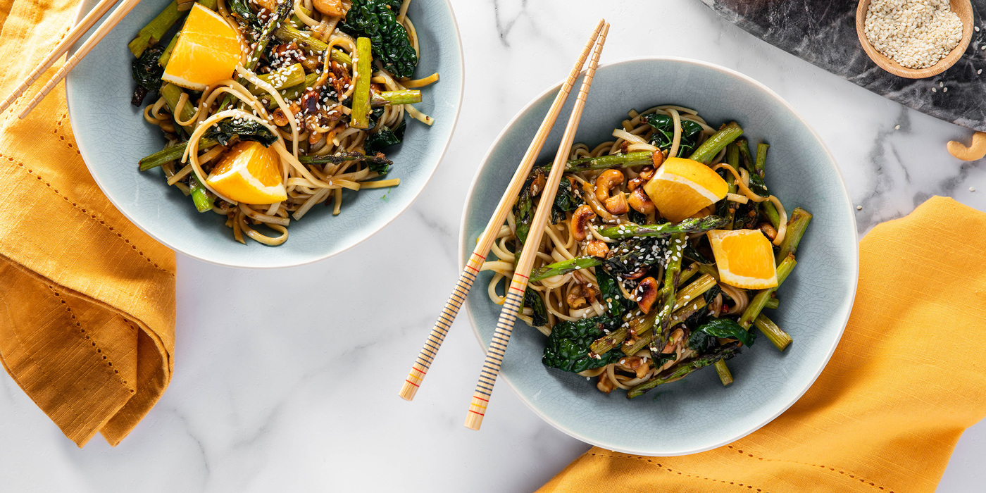 Sesame Orange Udon with Asparagus and Gingered Cashews